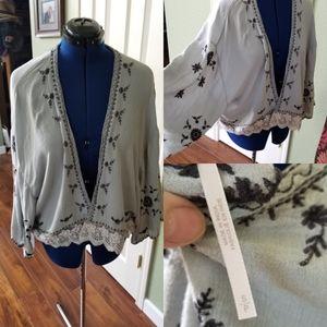 Freepeople dusty blue lace kimono